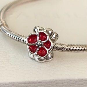 Pandora Red Poppy Flower Charm